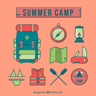 Summer camp icons