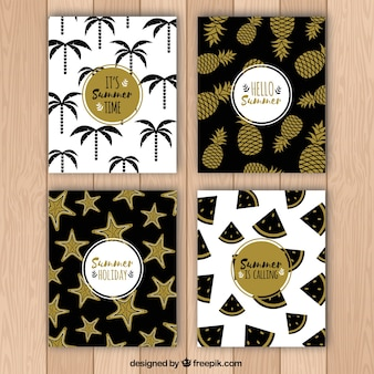 Summer card pack with gold accents