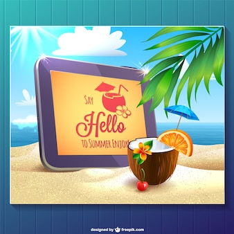 Summer card with a tablet in a beach and a coconut