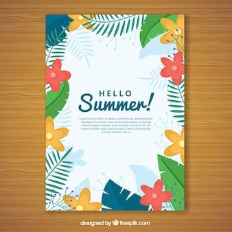 Летняя открытка с цветными цветами