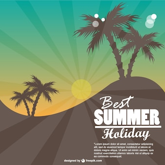 Summer card with palm trees and sunburst