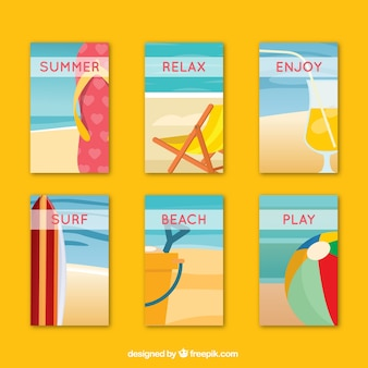 Summer cards pack with beach elements