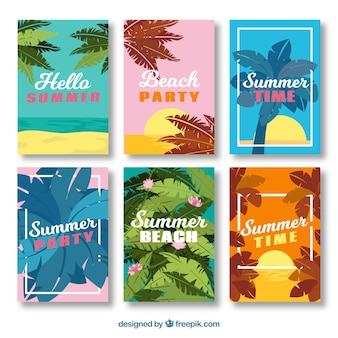 Summer cards with decorative palm leaves in different colors