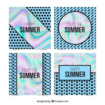Summer cards with holographic effect