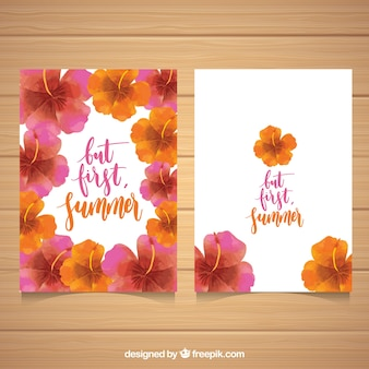 美しい水彩の花の夏のカード