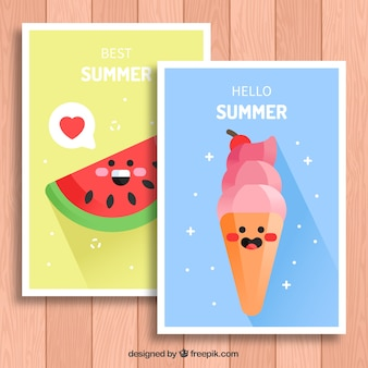 Summer cards with smiling characters