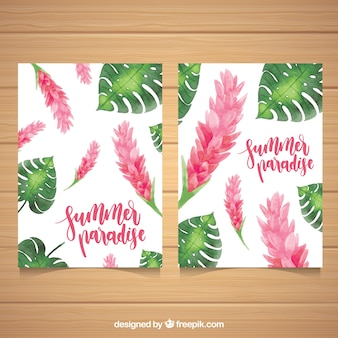 Summer cards with watercolor flowers