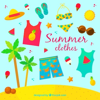 Summer clothes set in flat design