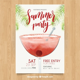Summer cocktail party watercolor brochure