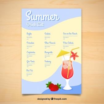 Summer delicious drinks menu template