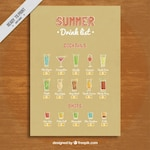 Summer drink list with cocktails and shots
