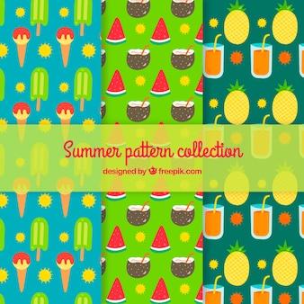 Summer drinks pattern background