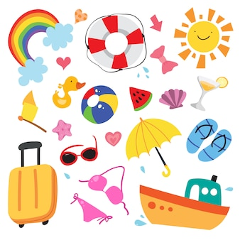 Summer elements illustration collection