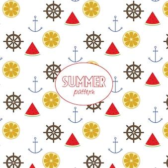 Summer elements pattern on white background