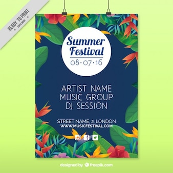 Summer festival poster with tropical flowers