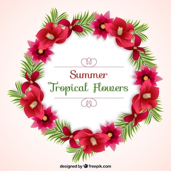 Summer floral wreath background