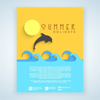 Summer flyer with dolphin and waves