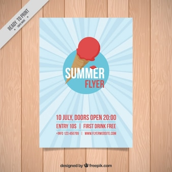 Summer flyer with stripes and ice-cream