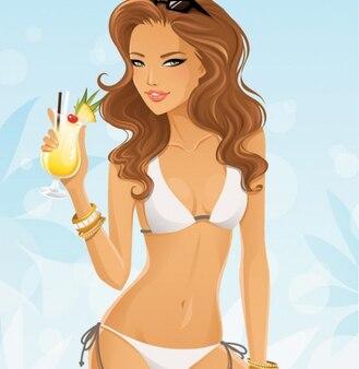 Summer girl in bikini with fruit cocktail