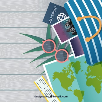 Summer holiday accessories in flat design background