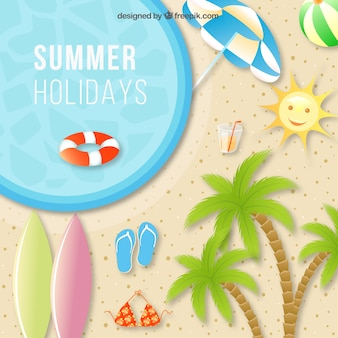 Summer holiday background with beach elements