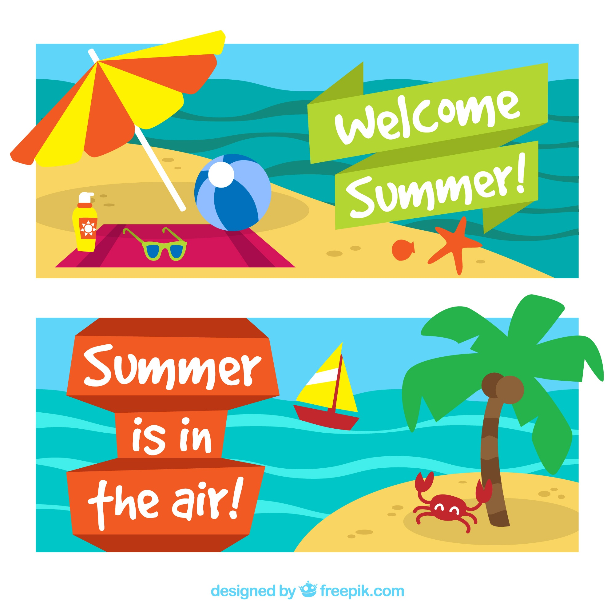 Summer holiday banners