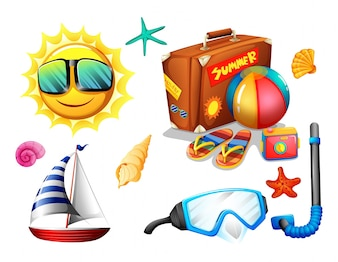 Summer holiday objects and traveling pack