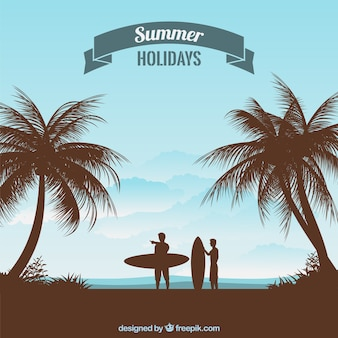 Summer holidays silhouettes