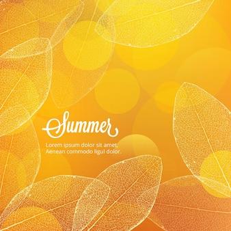 葉のある夏のイラスト
