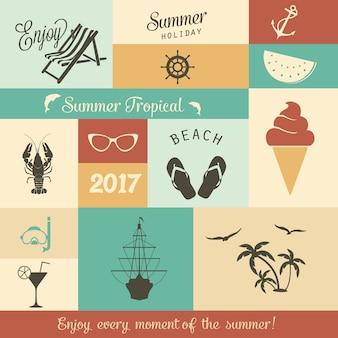 夏のベクターアイコンのデザイン