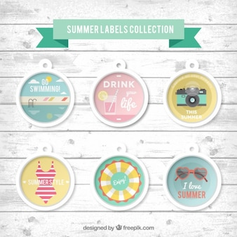 Summer labels set with shells