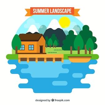 Summer landscape background in flat design