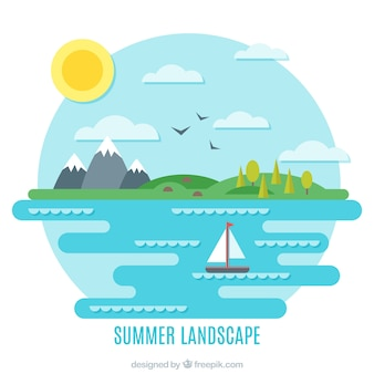Summer landscape with the sea in flat design