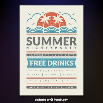 Summer night party poster vintage edition