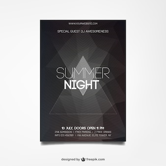 Summer night poster in geometric style
