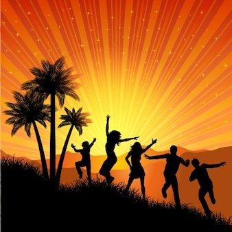 Summer Party Background with dancing Silhouette