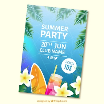 Summer party brochure with cocktail and surfboard