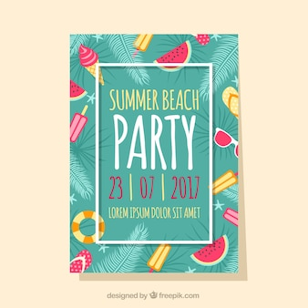 Summer party brochure with elements and leaves of palm trees