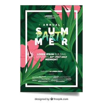 Summer party brochure with flowers