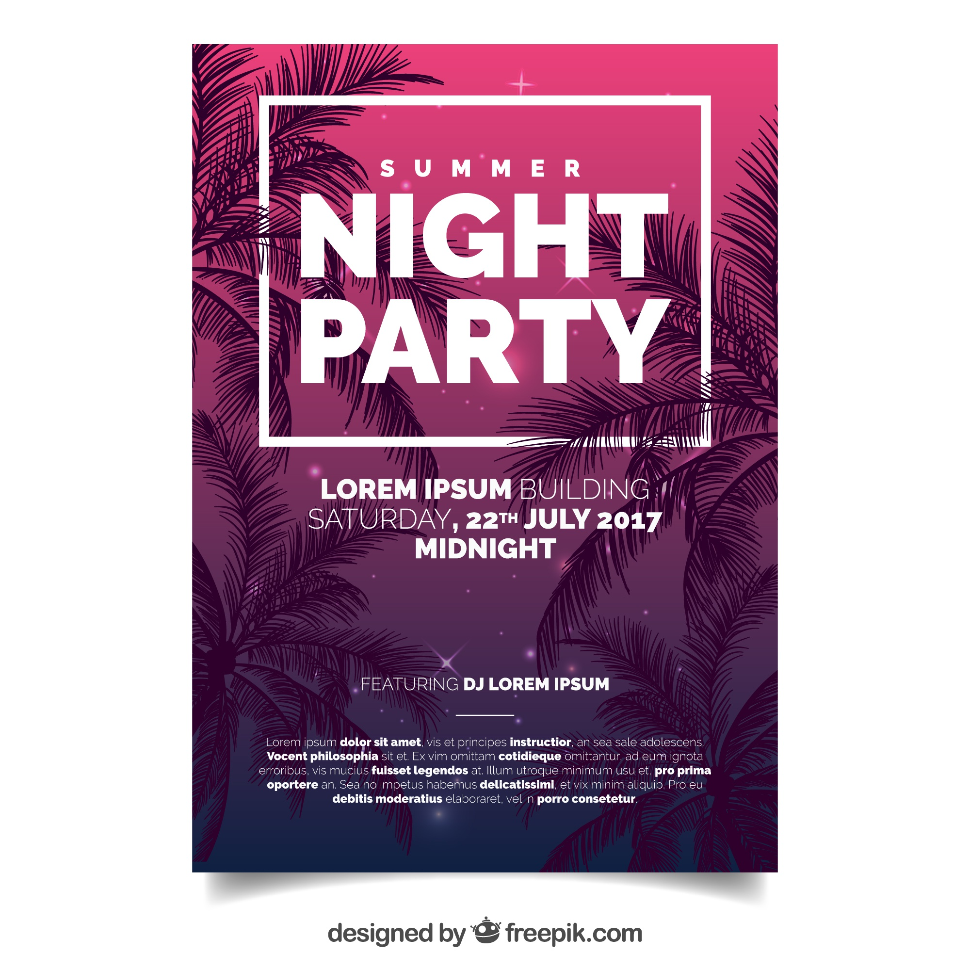 Summer party brochure with palm trees