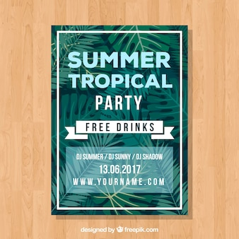 Summer party card with palm leaves
