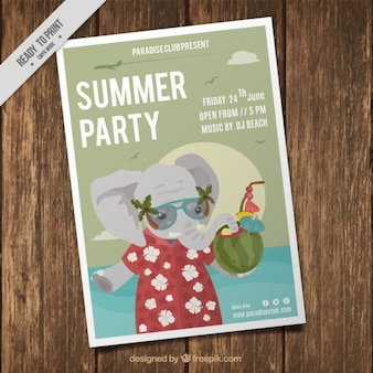 Summer party flyer with a nice elephant