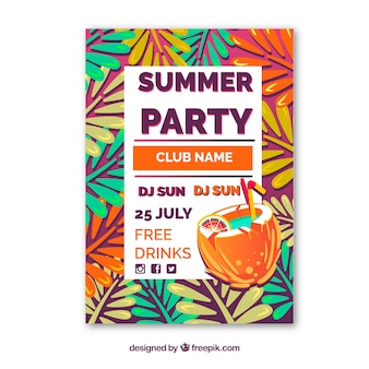 Summer party flyer with colored leaves