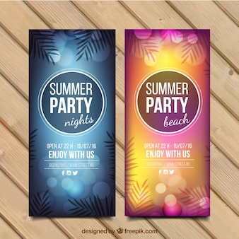 Summer party flyer with palm leaves and bokeh effect
