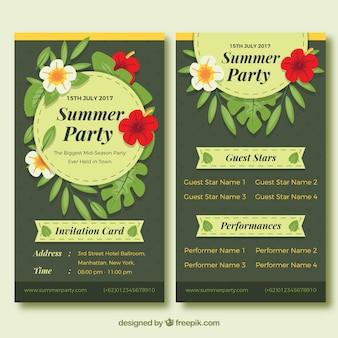 花で夏のパーティーの招待