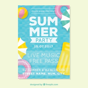 Summer party leaflet with decorative items