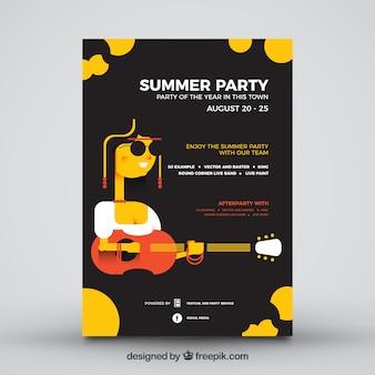夏のパーティーポスターの黒いデザイン