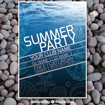 summer party poster in marine style