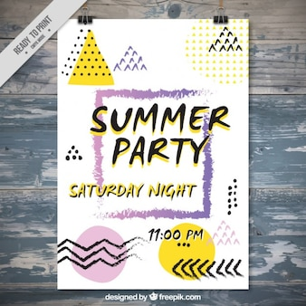 Summer party poster in memphis style