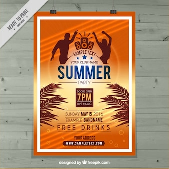 Summer party poster in orange color